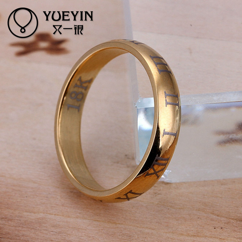 2013 Hot sale roman numbers engraved gold ring designs for men