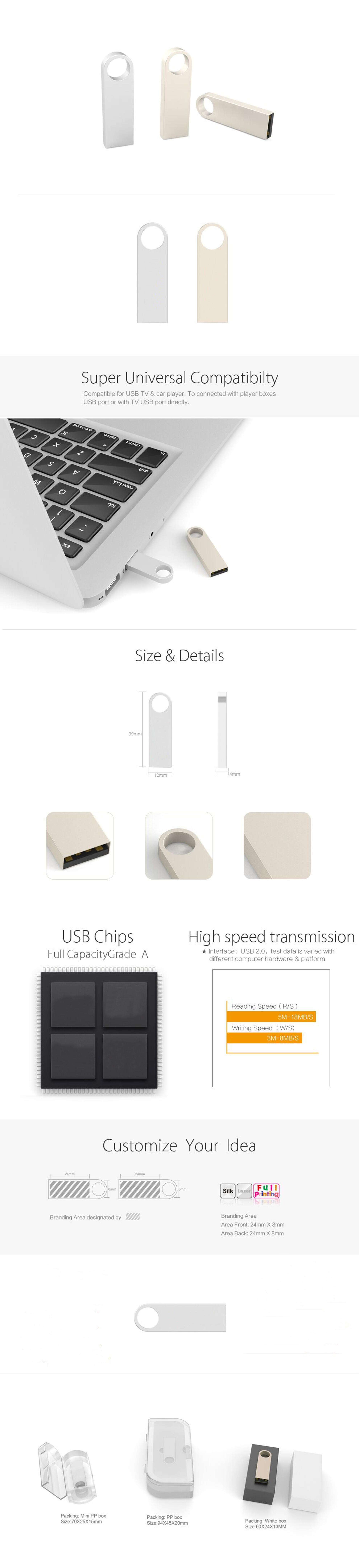 High quality metal usb memory stick bulk cheap with 100 Percent Full Capacity