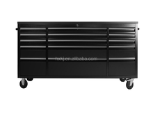 "Heavy duty 72"" stainless steel tool chest roller cabinet / tool trolley / wood tool chest with castors"