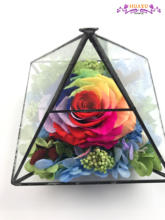 long life Ecuador rainbow rose glass flower wedding decor for sale