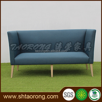 Custom made modern wood blue fabric living room sofa for hotel