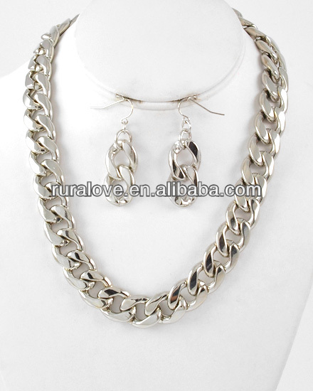 Silver metal tone chain necklace&fish hook earring set