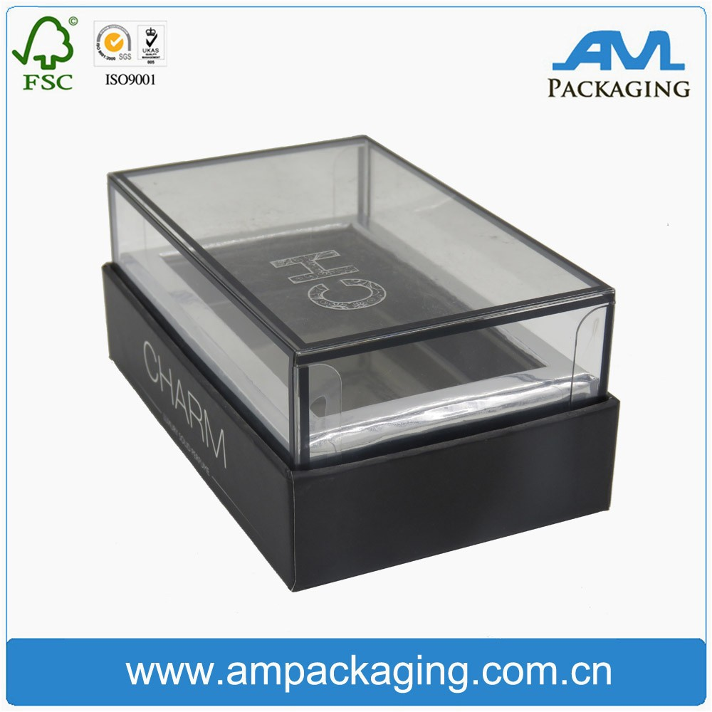 cosmetic compact packaging cardboard gift boxes with clear window