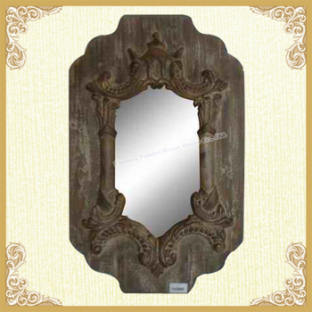 Wood carving small wall mirror