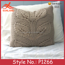 P1266 custom hand embroidery leaves bed cushion cover wholesale