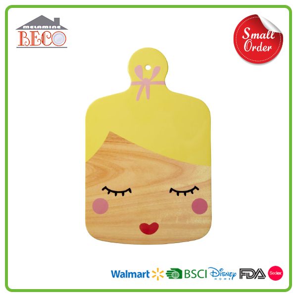 Food Grade Small MOQ Plastic Melamine Cutting Boards With Girl Face Printed