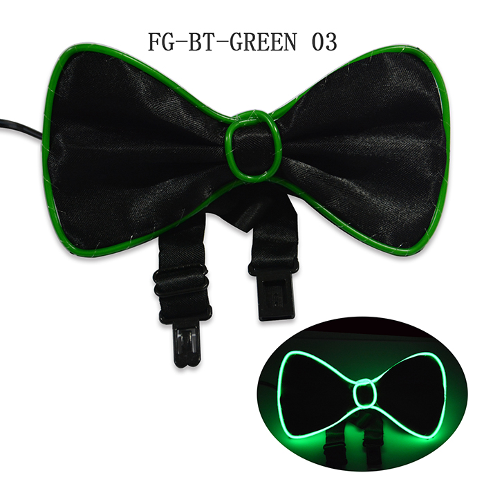 Sound Activated Flashing Glowing EL wire bowtie for men