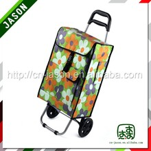 portable luggage trolley 3 mesh compartments laundry cart
