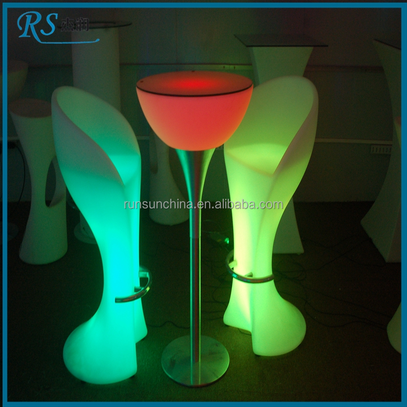 High top led light l shaped cool bar table for bar, bar table led changeable