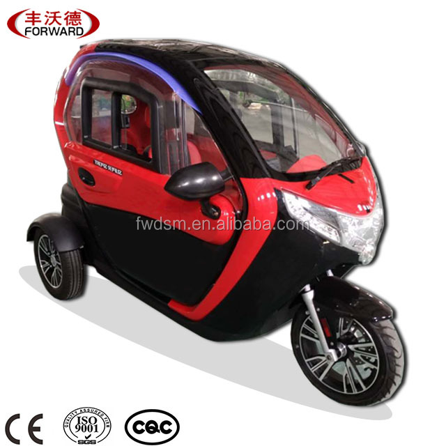 3 Wheels 60V/1000W Motor Fully Cabin Electric Tricycle Adults