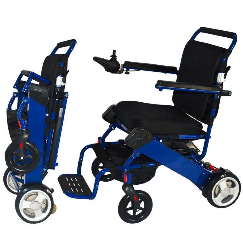 Stable durable aluminum folding power electric wheelchair for handicapped