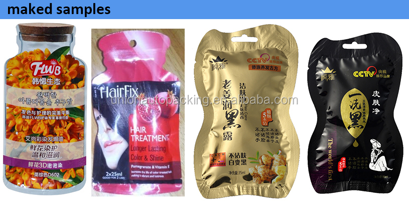 3 lane shaped sachet hair color packing machine