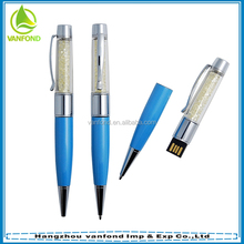 Promotional high quality usb ballpoint pen with crystal filled