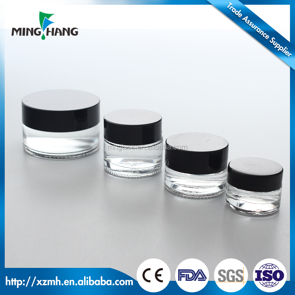 3ml 5ml 10ml 20ml airless plastic lid glass jars for cosmetic packaging
