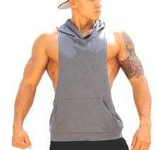 Top quality 85% cotton `15% plain sleveless gym tank top men with hat