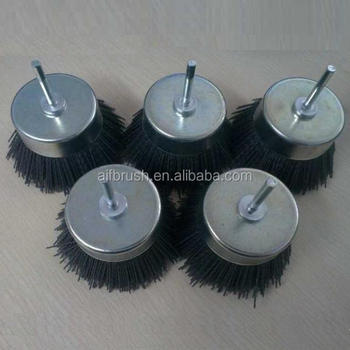 Durable Abrasive Nylon cup Brush with shaft for Polishing