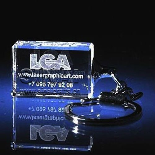 Beautiful Wedding Souvenir Gift 3D Laser Crystal KeyChain
