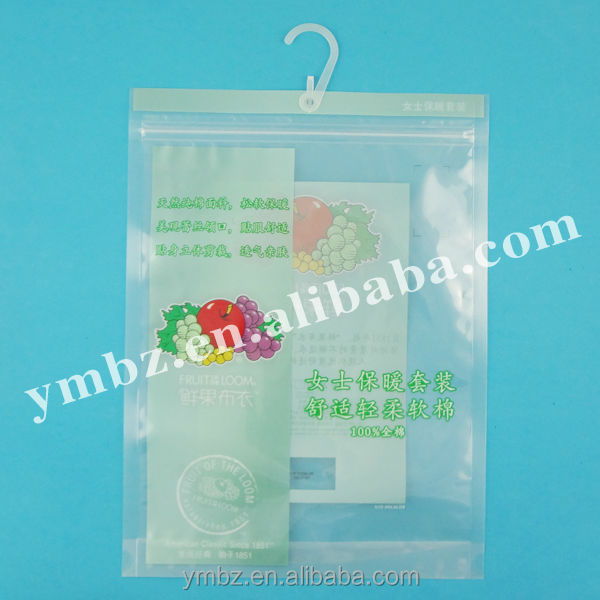 Packaging underwear plastic hanging hook top bag