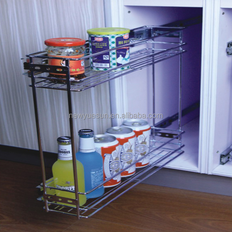 Side pull out basket Wire style 2 Tier kitchen cabinet organization