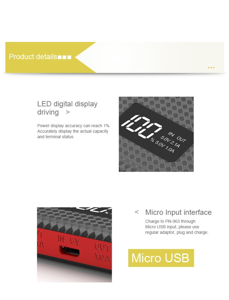 Portable li-polymer battery water proof quick charge 10000mah external power bank