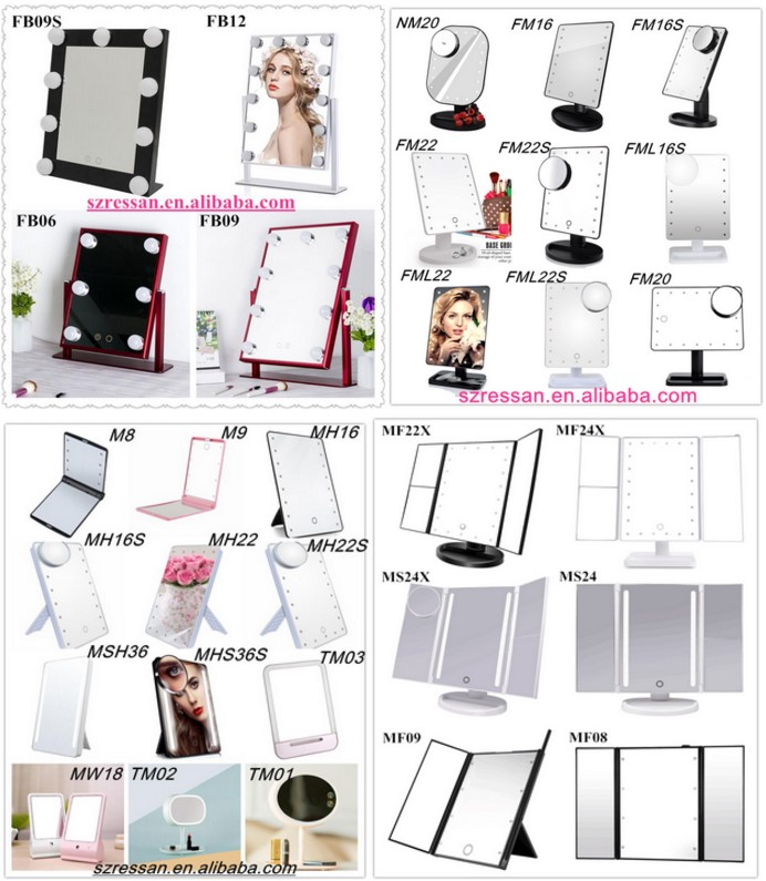 2018 Trending Production Led Trifold Mirror Foldable Beauty Mirror With Lights