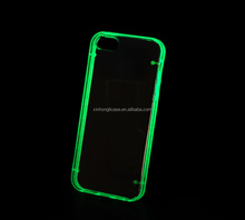 Luminous Glow Ultra Thin Transparent Gel Skin Hybrid Case Cover for iphone 5 5s, china new product