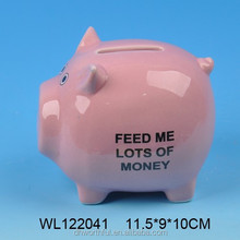 Ceramic pink animal money bank with cute design