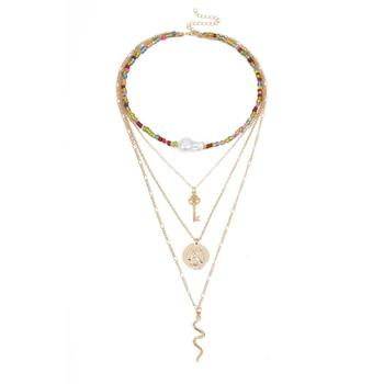 Personality geometric pendant Multi-layer color rice beads pearl snake necklace female jewelry
