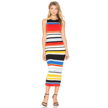 Z50253D High quality ladies rainbow color striped long dress
