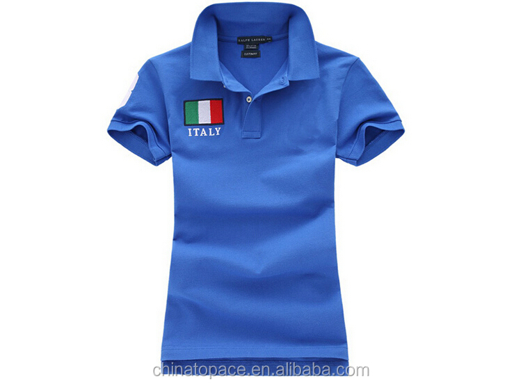 Women's fashion cheap solid color short sleeve mesh pique embroidered slim fit polo shirt