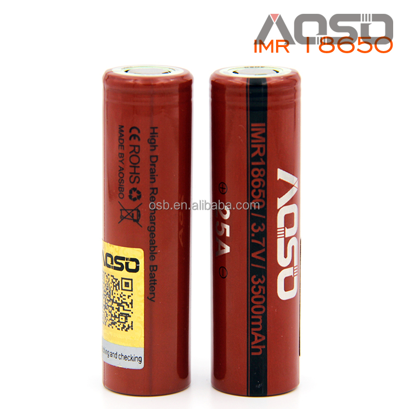 New 3500mah 18650 Highest mah Aosibo 18650 imr e-cigarette dna 200w box mod 18650 battery