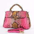 Newest stylish python snake ladies handbags women leather bags with long strap pink