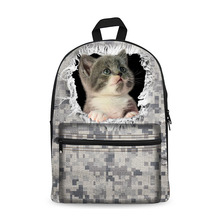 3D cute cat and dog Print Boys and Girls School Backpack kids Rucksack