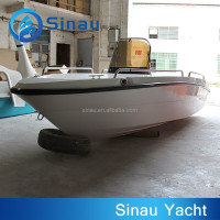 4.3M CE certification fiberglass fishing boat, center console FRP speed outboard motor boat for sale