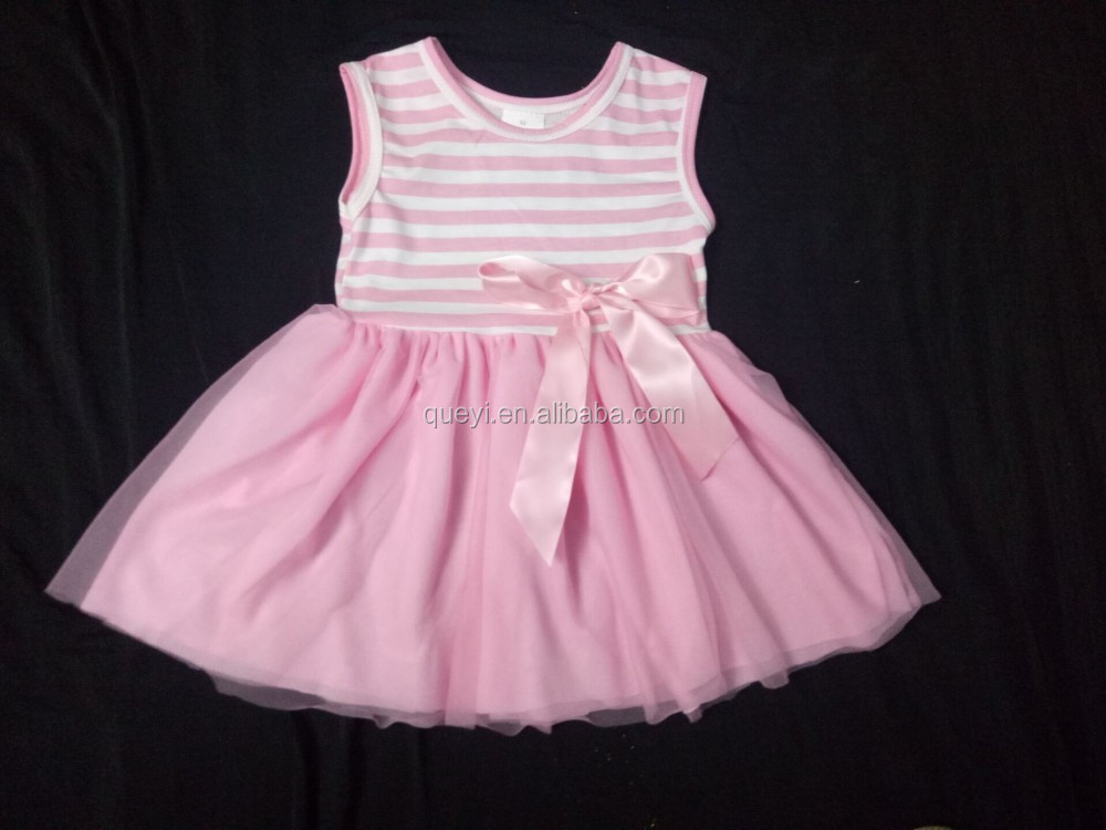 2016 Latest dress designs for kids wear party dress wholesale Valentine girl fashion pink stripe sleeveless dress with bowknot