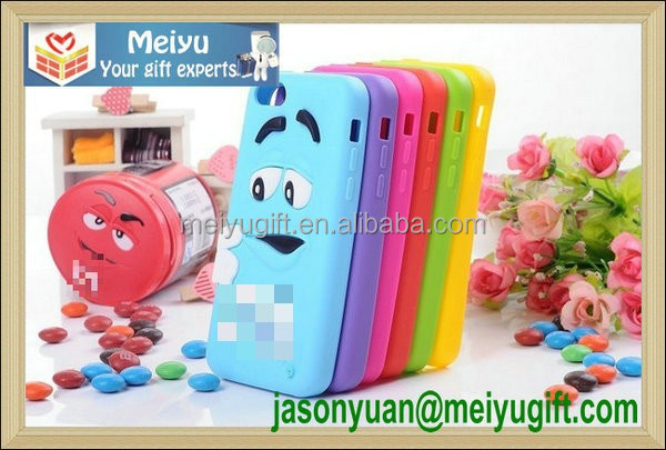 M chocolate bean cartoon design silicone phone case /silicone phone cover for phone decorate
