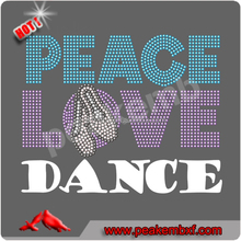 Wholesale Rhinestone Peace Love Dance Iron on Transfer for Printing and Cut Vinyl Machine