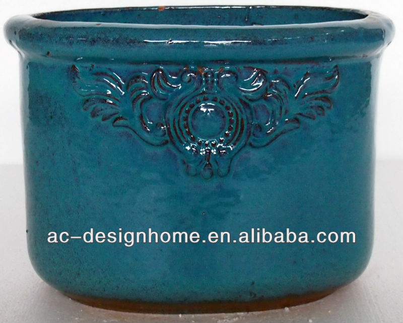 S/3 TEAL OVAL OUTDOOR GLAZED CERAMIC PLANTER
