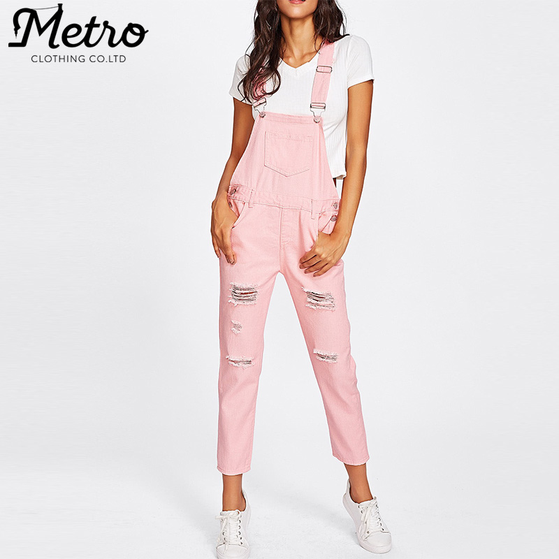 hot stylish fashion pocket front ripped denim overalls