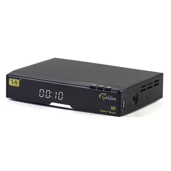 FTA 1080P Full HD DVB-S2+T2+Cable Receiver V8 golden support CAS, power vu web tv iptv biss key card