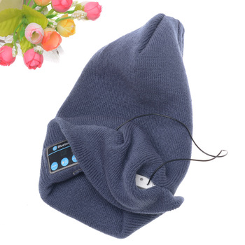 Good Quality Winter Wireless Headphone Custom Patch Knitted Bluetooth Beanie Hat