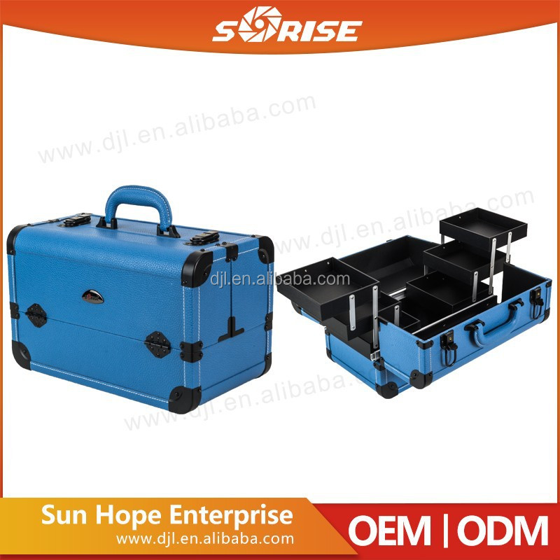 Cheap Box Type and PVC Leather Material Cosmetic Foldable Makeup Train Kits Case