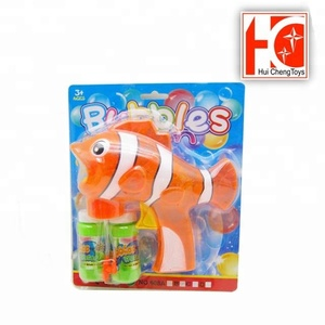 Hot sale kids outdoor toy plastic fish bubble gun for wholesale