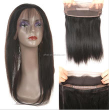 New arrival virgin straight human Hair Ear To Ear Elastic Band 360 frontal lace closure with bundles