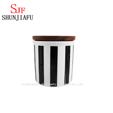 Wave Point And Stripe Type Ceramic Canister With Wooden Lid Ceramic Jar