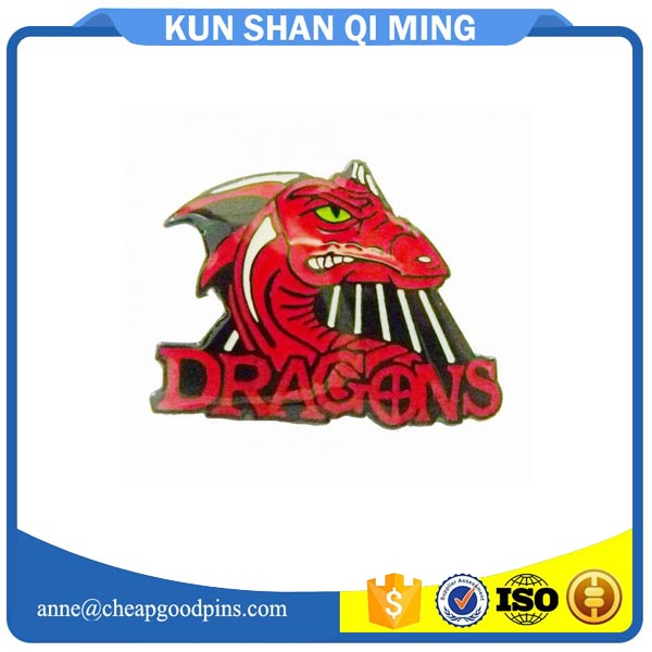 custom red dragons metal iron back finish personalized lapel pins with butterfly clutch