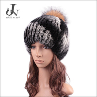 China Supplier Girls Knitted Rex Rabbit Fur Caps with Pompoms Hats