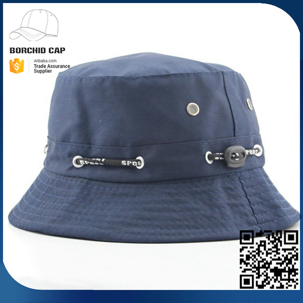 cheap summer outdoors blue fisherman bucket hats with string for wholesale