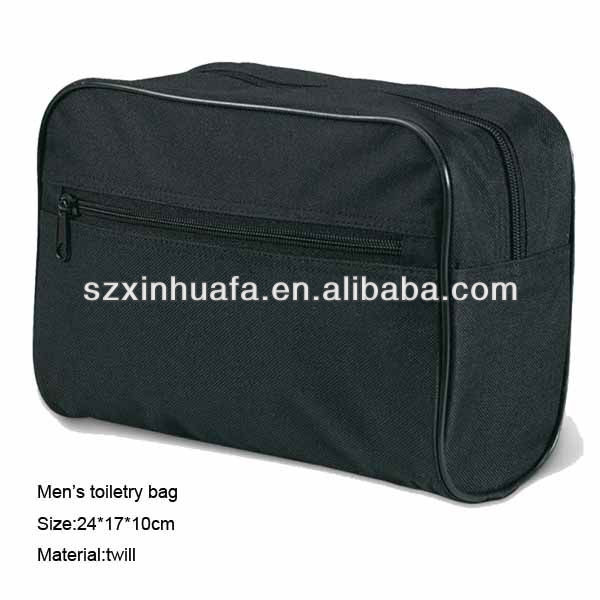 (XHF-COSMETIC-289)simple man toilet bag for travel toiletry bag for men black polyester with piping and zipper compartment