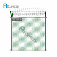 New Innovation galvanized welded wire mesh fence panel with razor barbed wire decoration